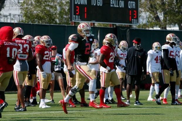 San Francisco 49ers quarterback Brian Hoyer (2) warms up at the start of training camp, Wednesday, Aug. 2, 2017, in Santa Clara, California. (Karl Mondon/Bay Area News Group)