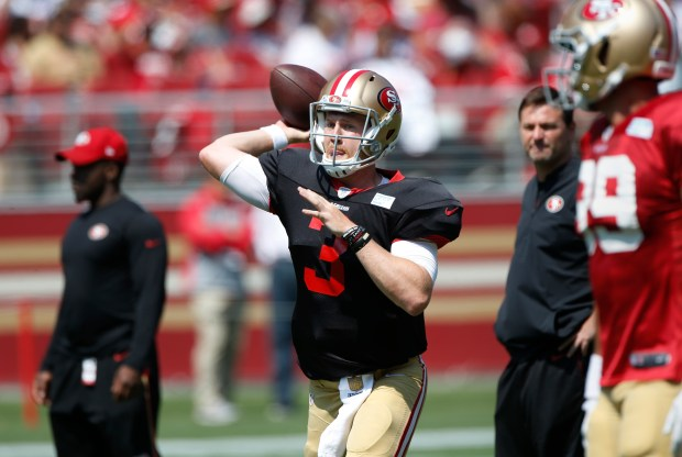 C.J. Beathard passes during San Francisco 49ers practice at Levi's Stadium on Saturday, Aug. 5, 2017, in Santa Clara, Calif. (Jim Gensheimer/Bay Area News Group)
