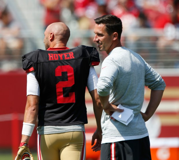 Coach Kyle Shanahan oversees San Francisco 49ers practice at Levi's Stadium on Saturday, Aug. 5, 2017, in Santa Clara, Calif. (Jim Gensheimer/Bay Area News Group)