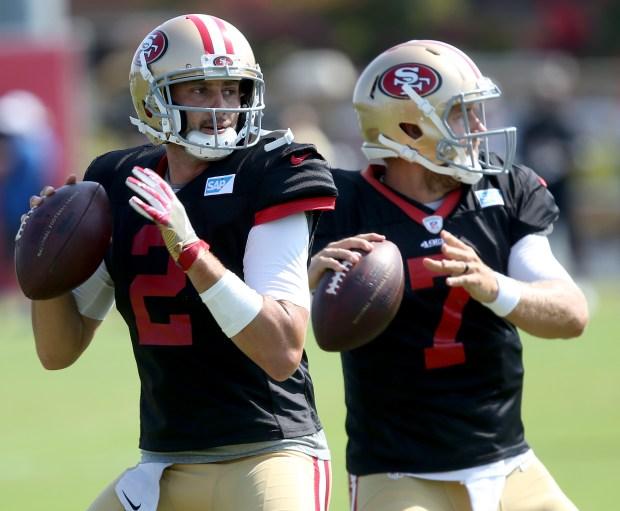 06156f15d52 San Francisco 49ers quarterbacks Brian Hoyer (2) and Matt Barkley (7) drop