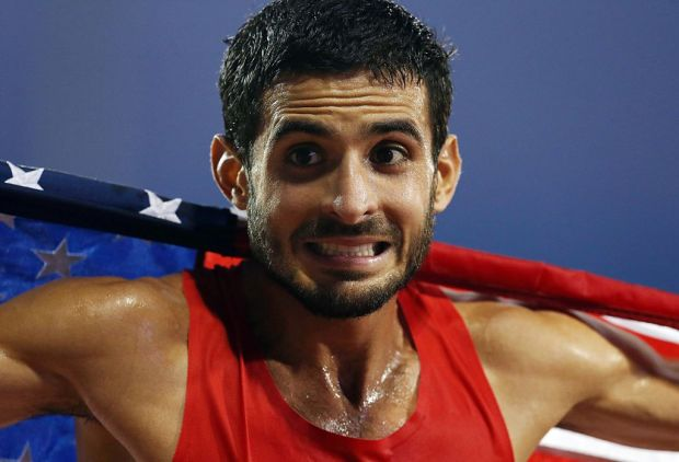 TORONTO, ON - JULY 25: David Torrence of the USA celebrates winning Silver in the Men's 5000m Final during Day 15 of the Toronto 2015 Pan Am Games at the Pan Am Athletics Stadium on July 25, 2015 in Toronto, Ontario, Canada. (Photo by Vaughn Ridley/Getty Images)