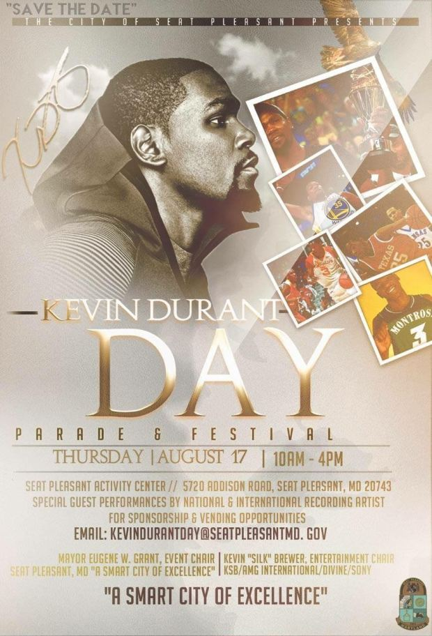 A poster publicizing Kevin Durant Day in Seat Pleasant, Maryland (Courtesy of Seat Pleasant, Maryland)