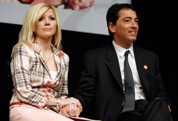 Actor Scott Baio, right, and his wife, Renee, are seen during a press conference to kick off National Newborn Screening Awareness Month in Los Angeles on Friday, Sept. 5, 2008. (AP Photo/Matt Sayles)