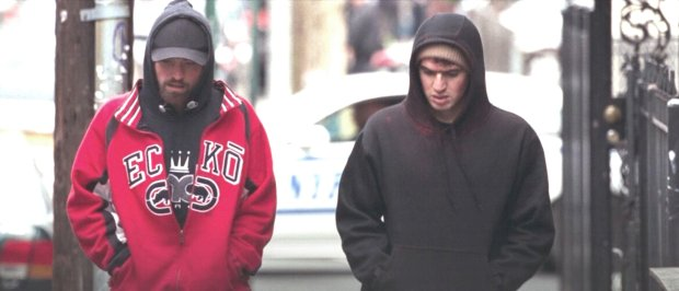 "Robert Pattinson, left, and Ben Safdie in ""Good Time."" (A24)"