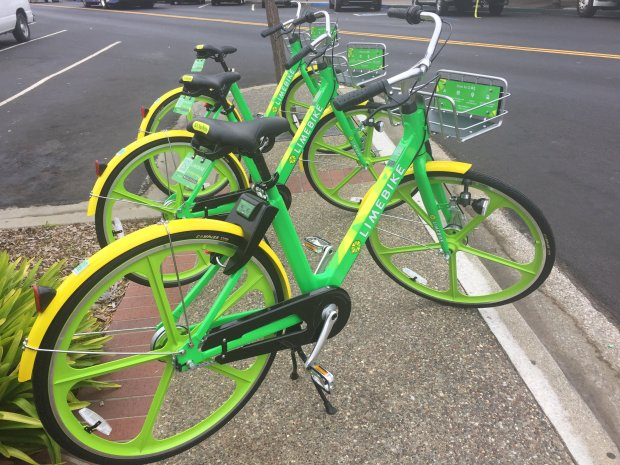 Bicycles operated by bike sharing startup LimeBike are displayed during apress event to celebrate the company's launch in South San Francisco on Tuesday, August 8, 2017. (Marisa Kendall/ Bay Area News Group)