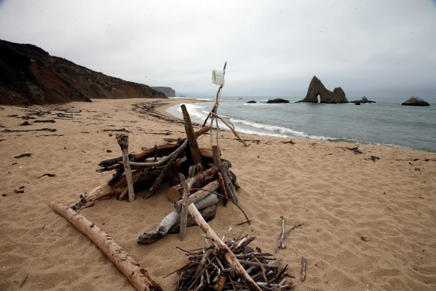 A gathering of driftwood is collected on Martins Beach on a typical overcast summer day,Tuesday, Aug. 29, 2017, near Half Moon Bay, California.