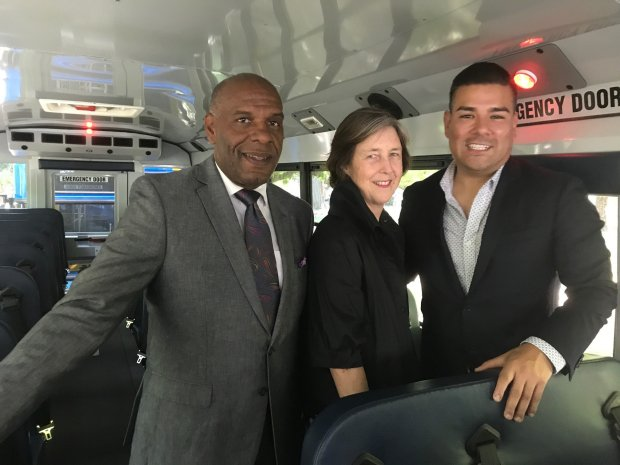 Sens. Steven Bradford, D-Inglewood, Nancy Skinner, D-Oakland, andRicardo Lara, D-Bell Gardens, pose for a photo aboard an electric school bus, part of a clean fleet purchased by the Twin Rivers school district near Sacramento. The senators want the state to invest more of its cap-and-trade auction revenue on incentives to encourage cities, school districts, ports and small businesses to use clean vehicles instead of diesel-burning engines, which are associated with asthma and other breathing problems. (Katy Murphy/Bay Area News Group)