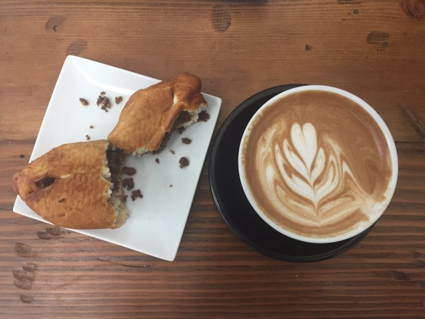 Beef piroshki and a mocha made with TCHO chocolate and coconut cream areamong the tasty treats at Slap Face Coffee & Tea in Fremont (Photo: Jessica Yadegaran).