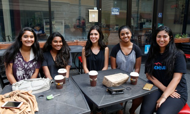 Ilisa Kothary, 16, Chantel Allegakoen,18, Hannah Amini,18, Tiya Kothary,16, Anjali Ponnekanti, 18, left to right, are photographed during an interview regarding President Trumps' RAISE Act policy proposals at the Paseo de San Antonio in San Jose, Calif., on Thursday, August 3, 2017. With plans to cut legal immigration and favor English-speaking, high-skilled workers, crackdowns on illegal immigration and potential investigations into university admissions practices favoring under-represented students, the Trump Administration is making good on campaign promises and reshaping the American dream. (Josie Lepe/Bay Area News Group)