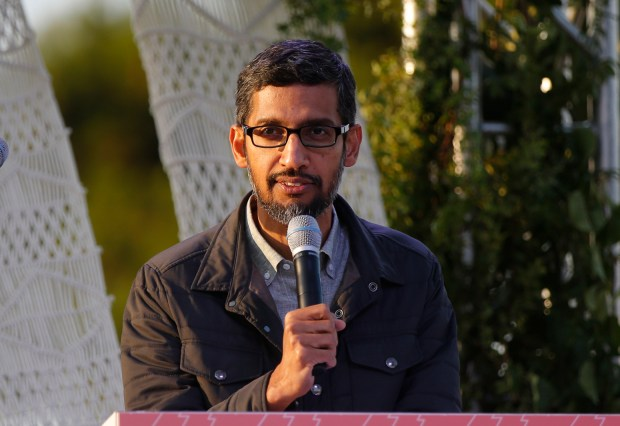 "Google CEO Sundar Pichai gives a speech to participants of "" Made with Code,"" a program by Google to teach computer science to girls in Mountain View, Calif., on Thursday, August 10, 2017. (JosieLepe/Bay Area News Group)"