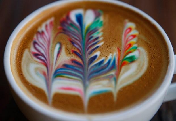 Latte art by barista Julian De La Cruz at Voyager Craft Coffee in Santa Clara, Calif. On Wednesday, August 16, 2017. (Nhat V. Meyer / Bay Area News Group)