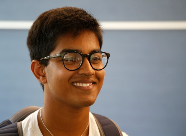 Student Adity Ganapathi is photographed during a new management, entrepreneurship, and technology, class at the University of California, Berkeley, on Thursday, Aug. 31, 2017, in Berkeley, Calif. The class is part of a new program this fall that will give students dual engineering and business degrees in just four years. (Aric Crabb/Bay Area News Group)