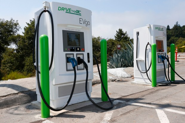 A pair of Drive the ARC electric vehicle chargers are ready to be used behind the Summit House restaurant along Highway 17 in Los Gatos, California, on Monday, August 21, 2017. The chargers are part of a new $20 million network of electric vehicle chargers between Monterey and Lake Tahoe. (Gary Reyes/ Bay Area News Group)