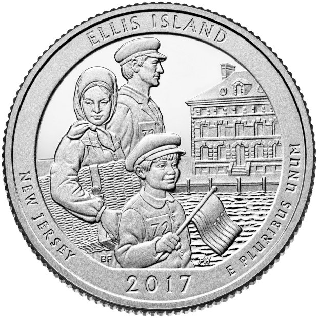 "The U.S. Mint will be selling the new Ellis Island commemorative silver quarter at the CoinExpo Santa Clara. It depicts the New Jersey side of the island and is part of the Mint's ""America the Beautiful"" campaign. (Photocourtesy of U.S. Mint)"