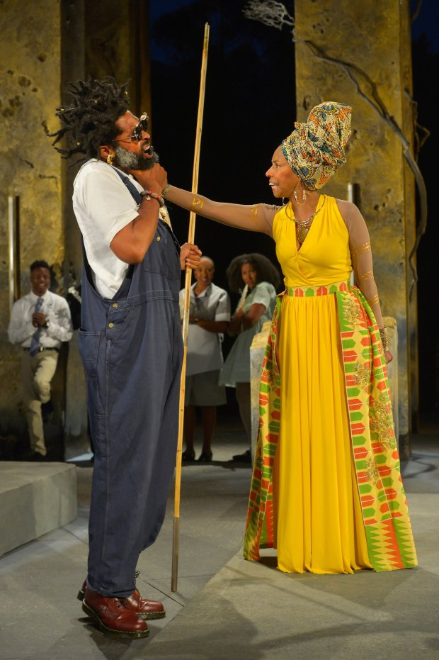 Aldo Billingslea (Great Grand Paw Sidin), Margo Hall (Great Aunt Tina);rear: Michael Curry, Dawn L. Troupe, and Safiya Fredericks in Marcus Gardley's *black odyssey* directed by Eric Ting at California Shakespeare Theater (Kevin Berne)