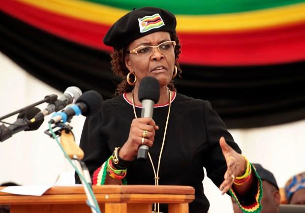 Zimbabwean first lady Grace Mugabe addresses party supporters at a 2017  in Harare, Zimbabwe.  (AP Photo/Tsvangirayi Mukwazhi, File)
