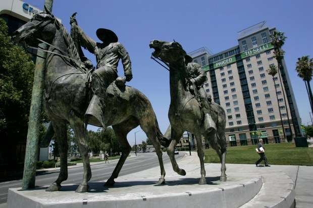 The Thomas Fallon statue in Pellier Park at St. James and Julian Streets, 2009. (Patrick Tehan/Mercury News)