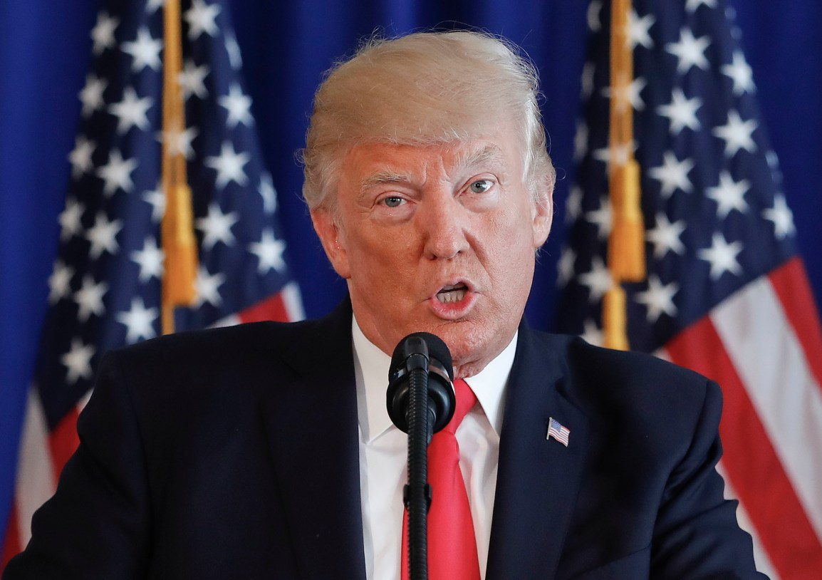 President Donald Trump speaks regarding the on going situation in Charlottesville, Va., Saturday, Aug. 12, 2017 at Trump National Golf Club in Bedminster, N.J. (AP Photo/Pablo Martinez Monsivais)