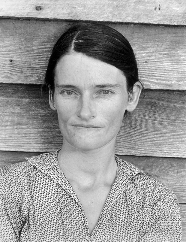 "Walker Evans, ""Allie Mae Burroughs, Wife of a Cotton Sharecropper, HaleCounty, Alabama,"" 1936. (© Walker Evans Archive, Metropolitan Museum of Art, New York)"