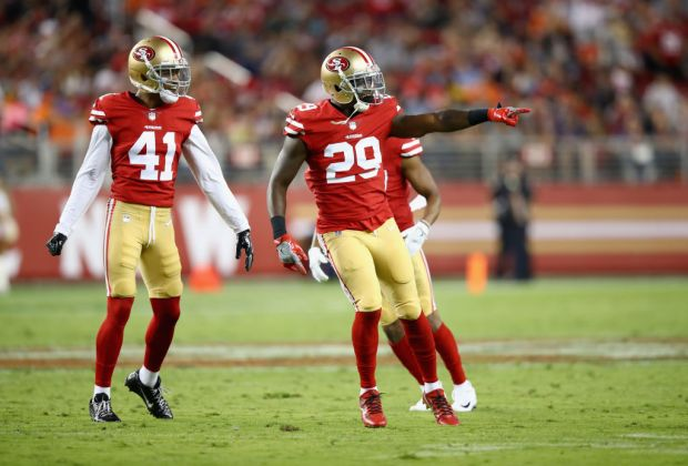 SANTA CLARA, CA - AUGUST 19: Jaquiski Tartt #29 celebrates with Ahkello Witherspoon #41 of the San Francisco 49ers after Tartt sacked Paxton Lynch #12 of the Denver Broncos at Levi's Stadium on August 19, 2017 in Santa Clara, California. (Photo by Ezra Shaw/Getty Images)