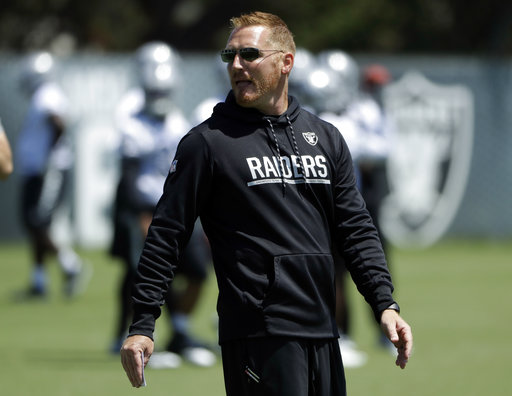 Oakland Raiders offensive coordinator Todd Downing during the team's organized team activity at its NFL football training facility Tuesday, June 6, 2017, in Alameda, Calif. (AP Photo/Marcio Jose Sanchez)