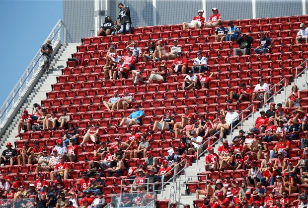 Football fans watch the San Francisco 49ers game against the Carolina Panthers from the upper deck in the second quarter of their NFL game at Levi's Stadium in Santa Clara, Calif., on Sunday, September 10, 2017. (Nhat V. Meyer/Bay Area News Group)
