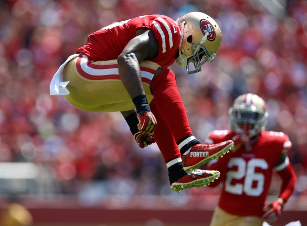 San Francisco 49ers' Reuben Foster (56) reacts after nearly intercepting the ball against the Carolina Panthers in the first quarter of their NFL game at Levi's Stadium in Santa Clara, Calif., on Sunday, September 10, 2017. (Nhat V. Meyer/Bay Area News Group)