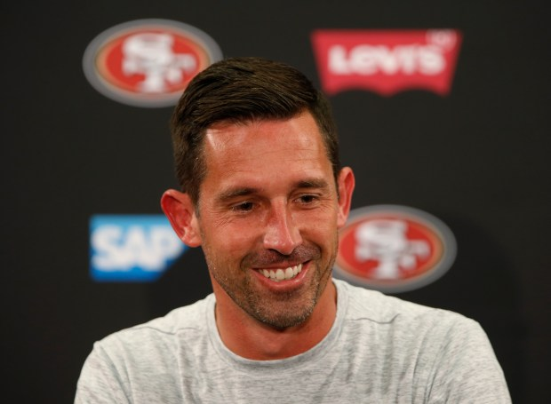 San Francisco 49ers head coach Kyle Shanahan is photographed during press  conference at Levi s Stadium in 9621effac