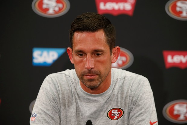 San Francisco 49ers head coach Kyle Shanahan is photographed during press conference at Levi's Stadium in Santa Clara, Calif., on Monday, September 11, 2017. (Josie Lepe/Bay Area News Group)