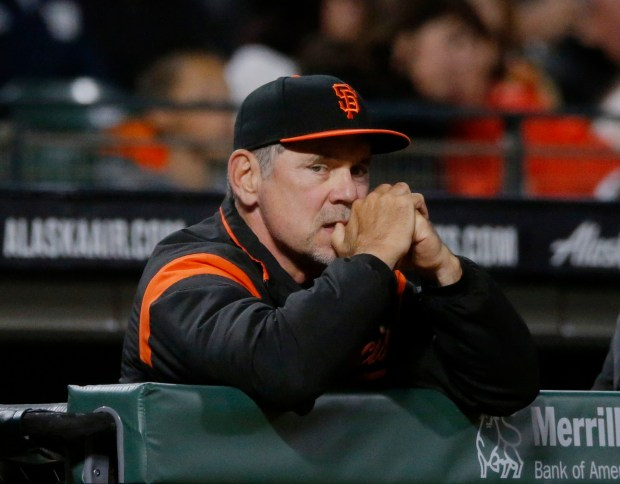 San Francisco manager Bruce Bochy is photographed during a break in the action against the Chicago Cubs in the sixth inning of their MLB game at AT&T Park in San Francisco, Calif., on Monday, August 7, 2017. (JosieLepe/Bay Area News Group)(JosieLepe/Bay Area News Group)