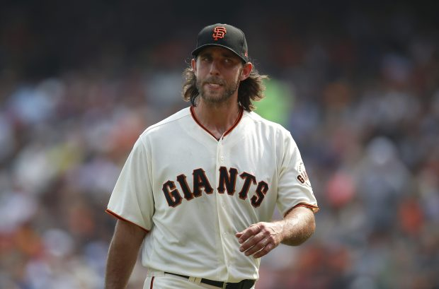 San Francisco Giants starting pitcher Madison Bumgarner (40) heads off the field after the end of the top of the sixth inning against the St. Louis Cardinals at AT&T Park in San Francisco, Calif., on Sunday, September 3, 2017. (Nhat V. Meyer/Bay Area News Group)