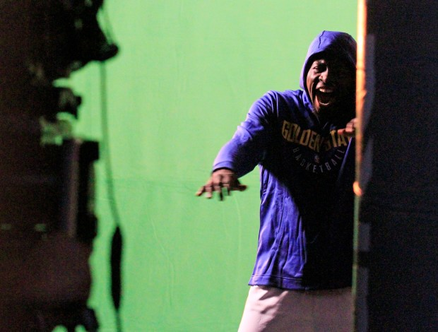 Draymond Green yells for the camera during a commercial shoot at the Golden State Warriors media day at the Rakuten Performance Center in Oakland, Calif., on Friday, Sept. 22, 2017.(Laura A. Oda/Bay Area News Group)