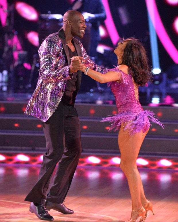 Terrell Owens and Cheryl Burke perform during 'Dancing with the Stars' on Monday September 18, 2017. (ABC/Eric McCandless)
