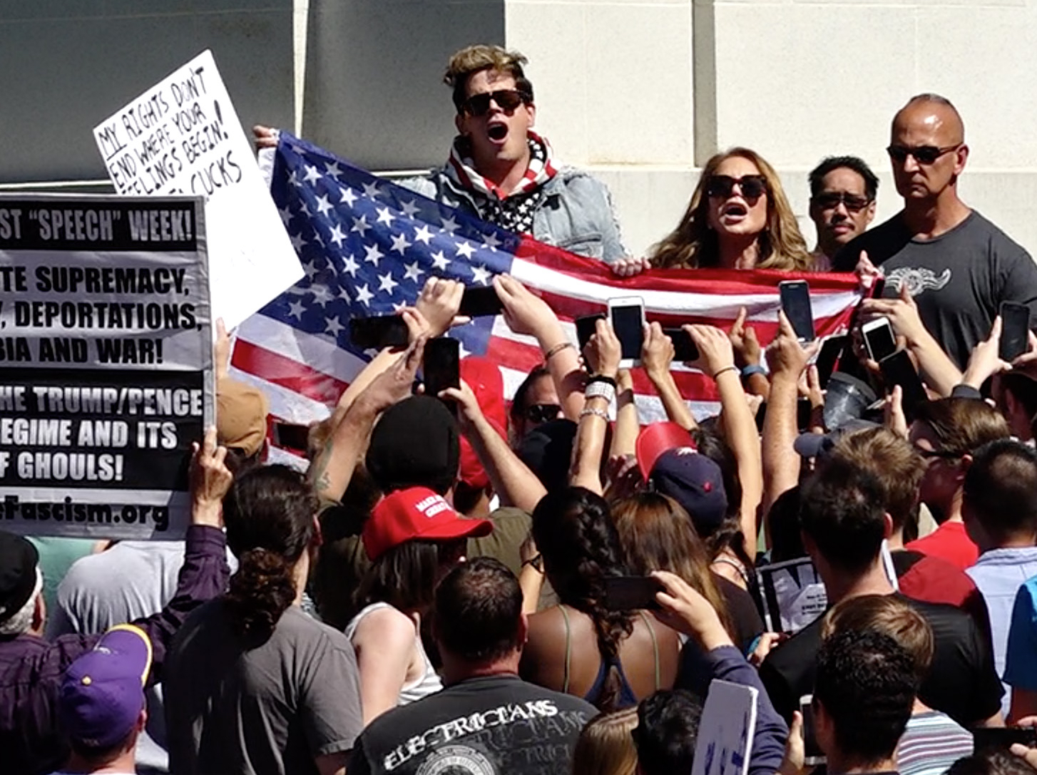 Milo Yiannopoulos appears briefly in front of a crowd in Sproul Plaza at UC Berkeley on Sunday, Sept. 24, 2017. (Nhat V. Meyer/Bay Area News Group)