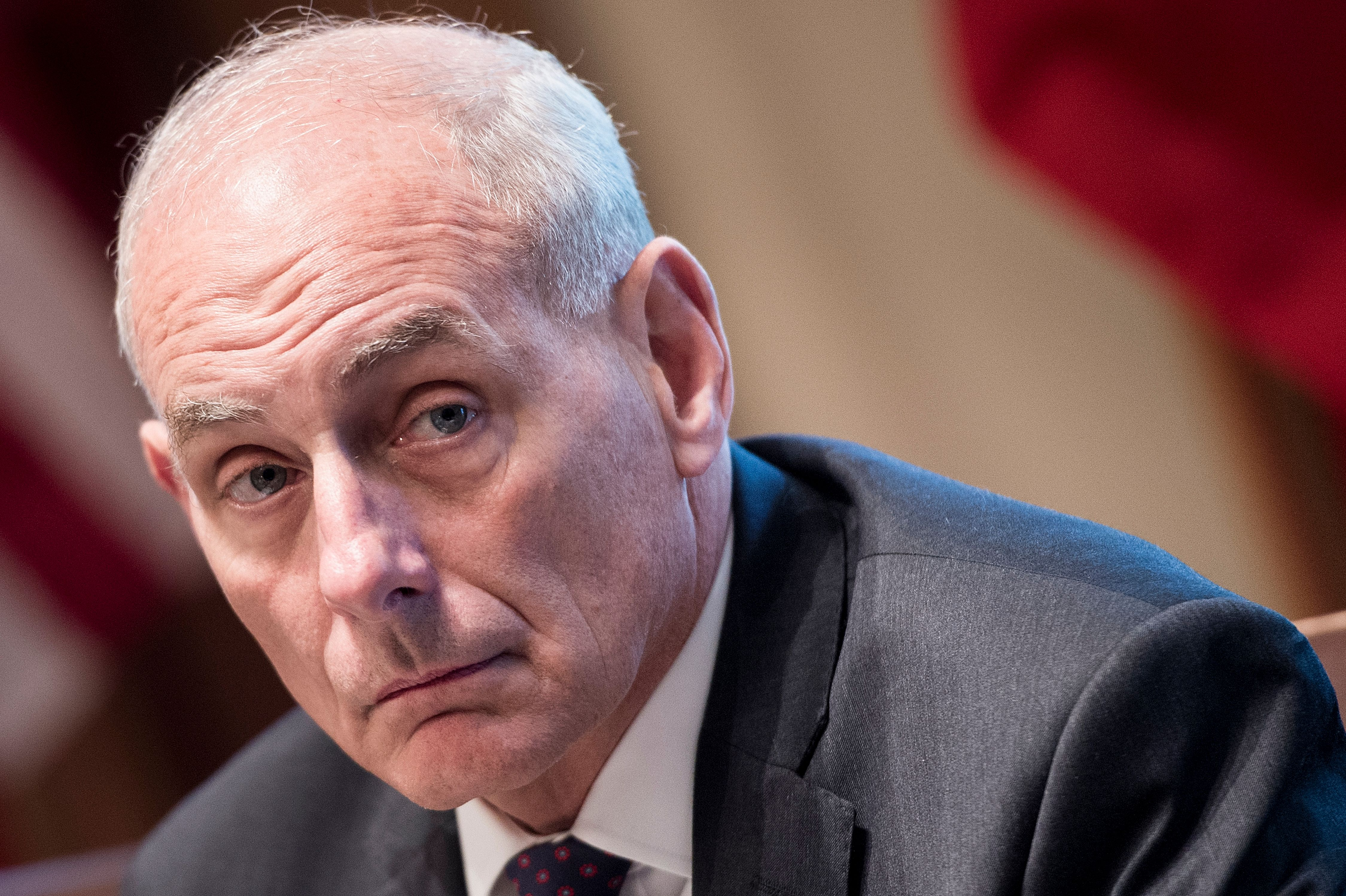 White House Chief of Staff John Kelly waits for a luncheon with Kuwait's Emir Sheikh Sabah al Ahmad Al-Sabah in the Cabinet Room of the White House