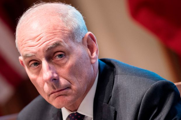 White House Chief of Staff John Kelly waits for a luncheon with Kuwait's Emir Sheikh Sabah al-Ahmad Al-Sabah in the Cabinet Room of the White House September 7, 2017 in Washington, DC. / AFP PHOTO / Brendan Smialowski (Photo credit should read BRENDAN SMIALOWSKI/AFP/Getty Images)