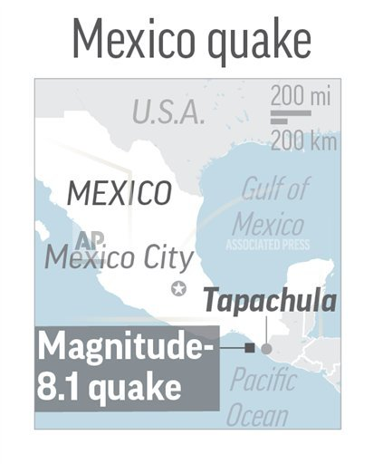 MEX QUAKE: Map locates magnitude-8.1 quake near Tapachula, Mexico; 1c x 2 inches; with BC-LT--Mexico-Earthquake Editor's Note: It is mandatory to include all sources that accompany this graphic when repurposing or editing it for publication