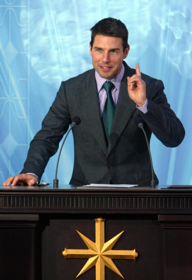 MADRID, SPAIN: US actor, Tom Cruise speaks during the inauguration of the Church of Scientology in Madrid, 18 September 2004. AFP PHOTO/ Pierre-Philippe MARCOU (Photo credit should read PIERRE-PHILIPPE MARCOU/AFP/Getty Images)