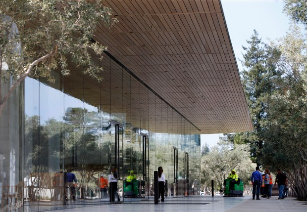 The new Apple Park Visitor Center is prepared Monday, Sept. 11, 2017, for an iPhone product release event at the company's new campus in Cupertino, Calif. (Karl Mondon/Bay Area News Group)