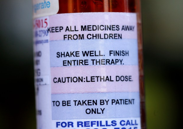 Jil Finnegan's prescription for end-of-life drugs is seen at her and her husband Geoff Protz's home in Oakland, Calif., on Friday, Sept. 22, 2017. Finnegan, 55, who had stage 4 cancer, opted to die on their wedding anniversary under California's right-to-die law. (Jane Tyska/Bay Area News Group)