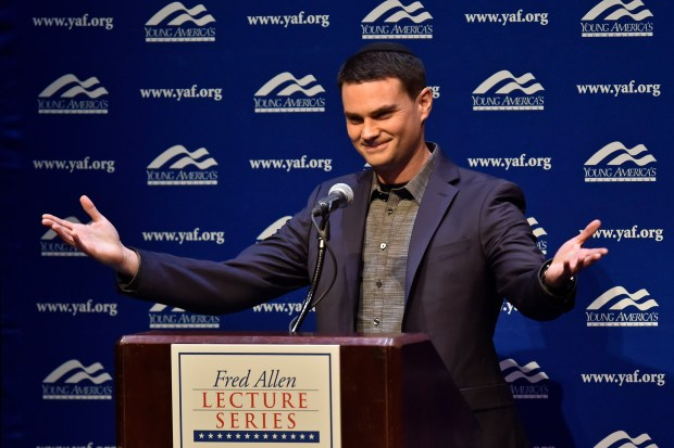 Conservative commentator Ben Shapiro speaks at Zellerbach Hall at the UC Berkeley in Berkeley, Calif. on Thursday, Sept. 14, 2017. The event was presented by the Berkeley College Republicans in conjunction with Young America's Foundation. (Jose Carlos Fajardo/Bay Area News Group)
