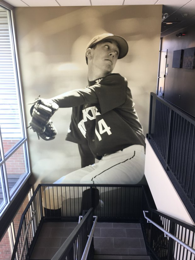 The image of former Giants pitcher Tim Lincecum adorns the walls at thebaseball office at the University of Washington, where Lincecum first established himself as a first-round pick. (CREDIT: Daniel Brown / Bay Area News Group)
