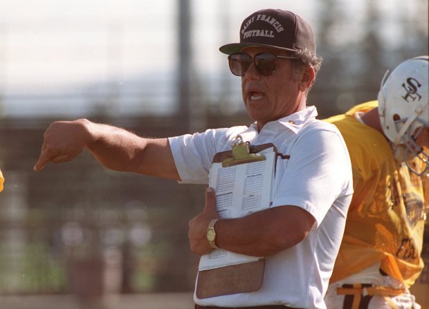 PHOTO: MERCURY NEWS FILE PHOTOGRAPH Calcagno, 53, ranks seventh in the state among coaches in football victories, with 233. As Santa Clara University's quarterback, Calcagno made the little all-america team. [960113 FR 1A 5; color] 1/13 Ron Calcagno, football coach at St. Francis High School in this 10/21/92 file photo.