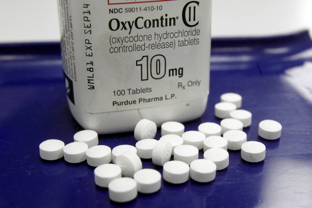 This Feb. 19, 2013 file photo shows OxyContin pills arranged for a photo at a pharmacy in Montpelier, Vt. (AP Photo/Toby Talbot, File)