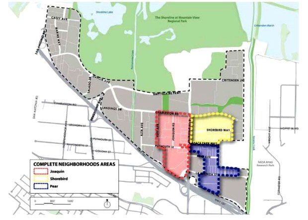 Three planned neigborhoods in Mountain View, Joaquin, Shorebird Way and Pear, could mean as many as 2,358 new students in Mountain View Whisman School District. (Mountain View Whisman School District)