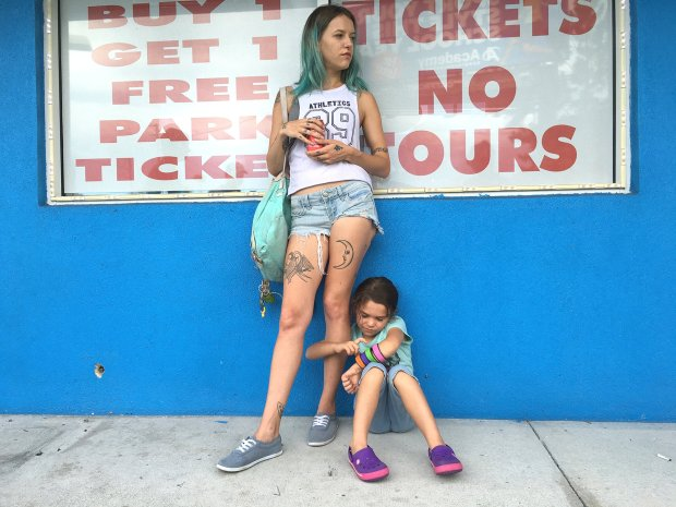"In ""The Florida Project,"" the a precocious 6-year-old Moonee (BrooklynnPrince), right, lives with her mother, Halley (Bria Vinaite), in an extended-stay motel in Kissimmee, Florida. (Marc Schmidt/A24 Films)"