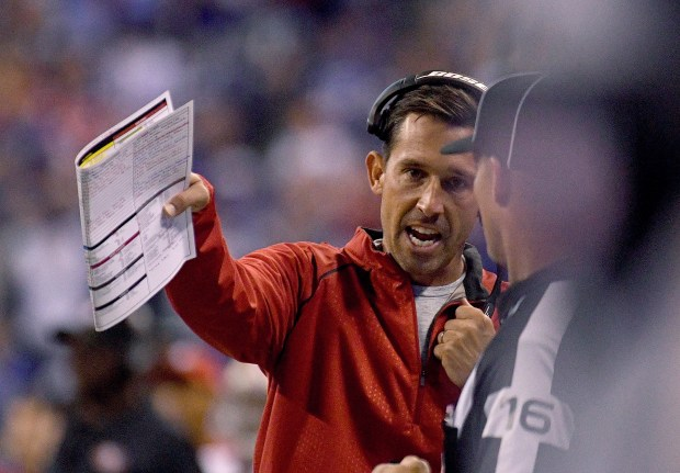 INDIANAPOLIS, IN - OCTOBER 08: Kyle Shanahan, head coach of the San Francisco 49ers, talks to a referee during overtime during the game between the Indianapolis Colts and the San Francisco 49ers at Lucas Oil Stadium on October 8, 2017 in Indianapolis, Indiana. (Photo by Bobby Ellis/Getty Images)