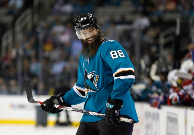 San Jose Sharks' Brent Burns (88) is photographed during a break in the action against Montreal Canadiens in the first period of their NHL game at SAP Center in San Jose, Calif. on Tuesday, October 17, 2017. ( Josie Lepe / Bay Area News Group)