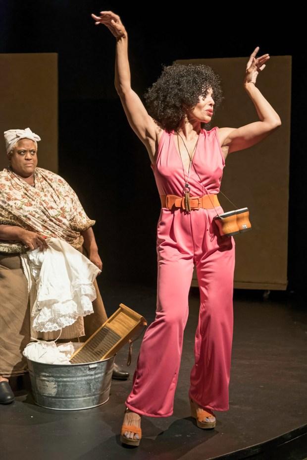 "Juanita Harris, left, and Damaris Devito in ""The Further Adventures of Hedda Gabler,"" at Dragon Theatre in Redwood City Oct. 27 through Nov. 19, 2017.(Lance Huntley / Dragon Theatre)"