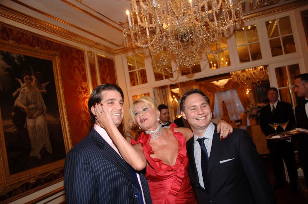 """NEW YORK - MAY 02: (L-R) Donald Trump, Jr., Ivana Trump and Jason Binn attend a """"Spring Into Summer"""" cocktail reception hosted by Ivana Trump and Jason Binn, CEO of Niche Media (publisher of 'Gotham' and 'Hamptons' Magazines) on May 02, 2007 in New York City, USA. (Photo by Andrew H. Walker/Getty Images)"""